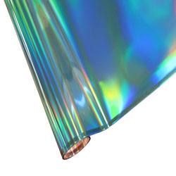 """25 Foot Roll of 12"""" StarCraft Electra Foil - Blue Holographic Rainbow"""